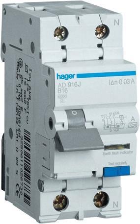 Дифференциальный автоматический выключатель 1P+N 6kA B-16A 10mA A-тип AC916J