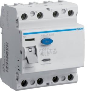 Устройство защитного отключения 4P, 100A, 300mA, A-тип, S, Hager