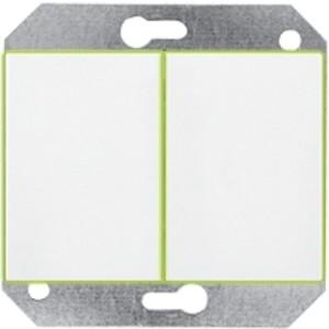 Выключатель 2-клавишный без фиксации с подсветкой без рамки