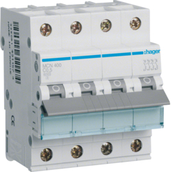 Миниатюрный автоматический выключатель 4 полюсный, 0.5 А, 6kA, характеристика C, MCN